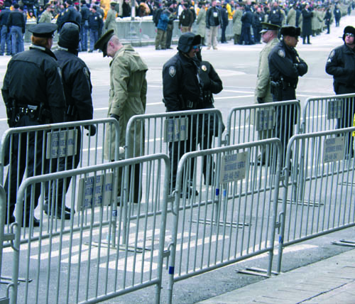 Crowd Control Barricades from Ally Rental Being Used at the 2008 Presidential Inauguration